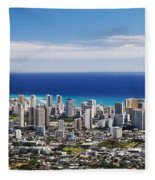Lookout View Of Honolulu Fleece Blanket