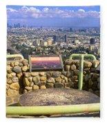 Los Angeles Skyline From Mulholland Fleece Blanket