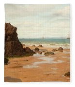 Low Tide At The Ris Beach Fleece Blanket