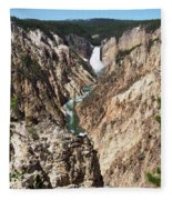 Lower Falls From Artist Point In Yellowstone National Park Fleece Blanket