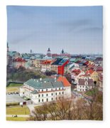 Lublin Old Town Panorama Poland Fleece Blanket