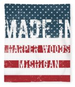 Made In Harper Woods, Michigan Fleece Blanket