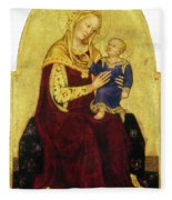 Madonna And Child Enthroned Fleece Blanket