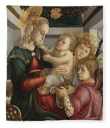Madonna And Child With Angels Fleece Blanket