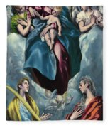 Madonna And Child With Saint Martina And Saint Agnes Fleece Blanket
