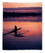 Man Rowing On Montlake Cut Fleece Blanket