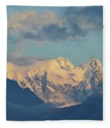 Massive Snow Caped Mountains In The Countryside Of Italy  Fleece Blanket