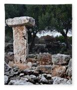 Megalithic Taula In Binisafua Menorca Bronze Age Fleece Blanket