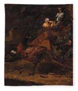 Melchior De Hondecoeter In The Manner Of The Artist, Wild Birds In A Park Landscape. Fleece Blanket