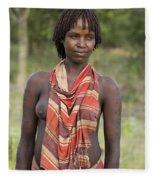 member of the Bena Tribe, Omo Valley Fleece Blanket