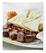 Middle Eastern Food Mixed Bbq Barbecue Grilled Meat Set Meal Fleece Blanket