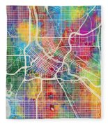 Minneapolis Minnesota City Map Fleece Blanket