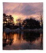 Mississippi River Dawn Light Fleece Blanket