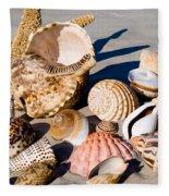 Mix Group Of Seashells Fleece Blanket