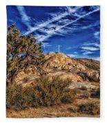 Mojave Memorial Cross And War Memorial Fleece Blanket