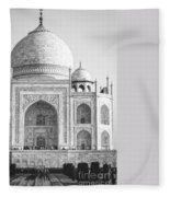Monochrome Taj Mahal - Square Fleece Blanket