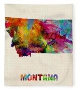 Montana Watercolor Map Fleece Blanket