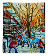Montreal Hockey Paintings Fleece Blanket