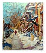 Montreal Street In Winter Fleece Blanket