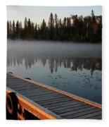 Morning Mist Over Lynx Lake In Northern Saskatchewan Fleece Blanket