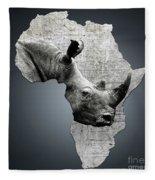 Mother Africa With A Rhino  Fleece Blanket