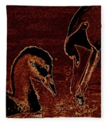 Mother Swan And Cygnet Fleece Blanket