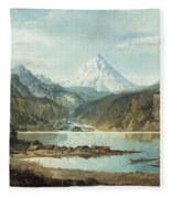 Mountain Landscape With Indians Fleece Blanket