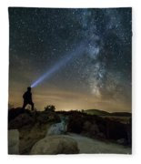 Mushroom Rocks Phenomenon Under The Night Sky Fleece Blanket