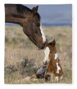 Mustang Mare And Foal Fleece Blanket
