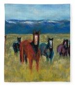 Mustangs In Southern Colorado Fleece Blanket