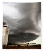 Nasty Looking Cumulonimbus Cloud Behind Grain Elevator Fleece Blanket