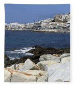 Naxos Greece Harbor Fleece Blanket