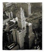 New York Woolworth Building - Vintage Photo Art Print Fleece Blanket