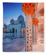 Night View At Sheikh Zayed Grand Mosque, Abu Dhabi, United Arab Emirates Fleece Blanket