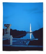 Night View Of The Washington Monument Across The National Mall Fleece Blanket