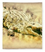 Nile River Crocodile Fleece Blanket