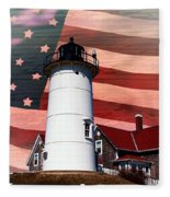 Nobska Lighthouse On American Flag Fleece Blanket