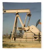 Nodding Donkey Oil Pumps Fleece Blanket
