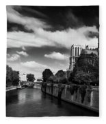 Notre Dame Cathedral And The River Seine - Paris Fleece Blanket