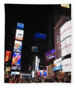 Nyc Times Square Fleece Blanket