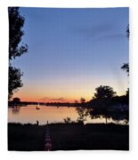 Obear Park And The Danvers River At Sunset Fleece Blanket