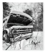 Old Abandoned Pickup Truck In The Snow Fleece Blanket