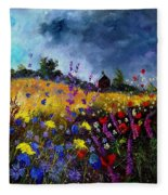 Old Chapel And Flowers Fleece Blanket