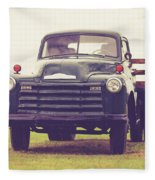 Old Chevy Farm Truck In Vermont Square Fleece Blanket