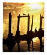 Old Pier At Sunset Fleece Blanket