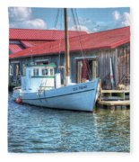 Old Point Crabbing Boat Fleece Blanket