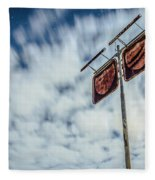 Old Rustic Fuel Station Sign In The Countryside Fleece Blanket