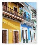 Old San Juan Houses In Historic Street In Puerto Rico Fleece Blanket