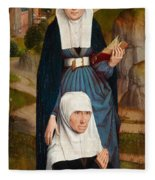 Old Woman At Prayer With St. Anne Fleece Blanket