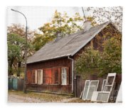 Old Wooden House With Tar Fleece Blanket